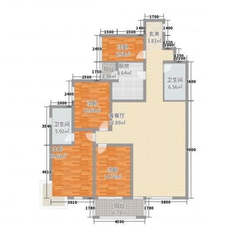 依山居4室1厅2卫1厨210.00㎡户型图