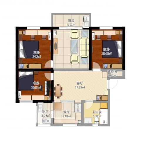 海棠小区3室3厅1卫1厨135.00㎡户型图