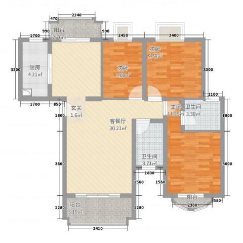 新君汇花地湾3室1厅2卫1厨87.00㎡户型图