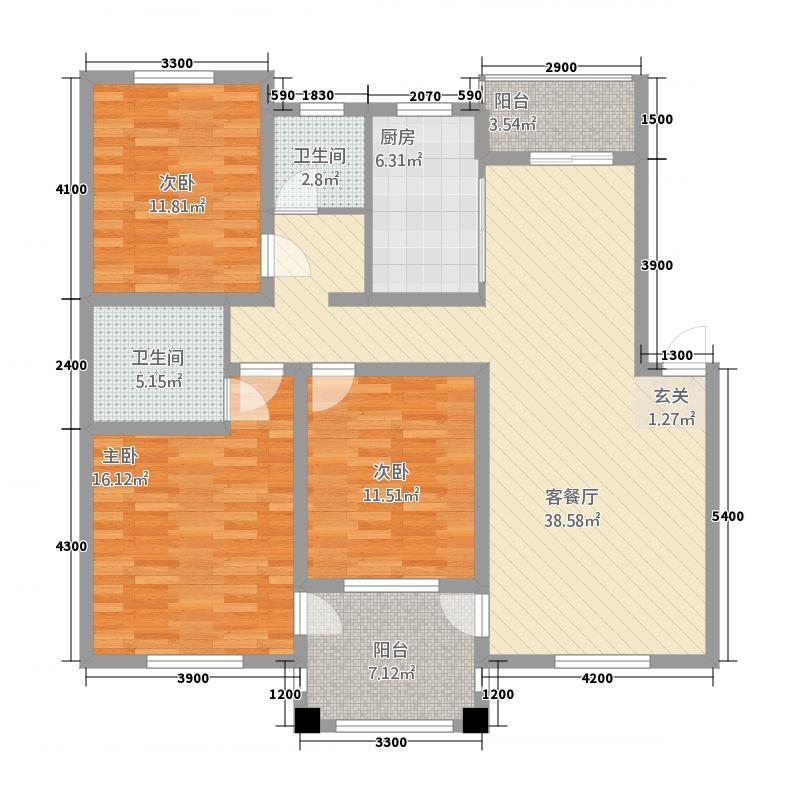 远洲玫瑰园77842120.00㎡7M户型3室2厅2卫1厨