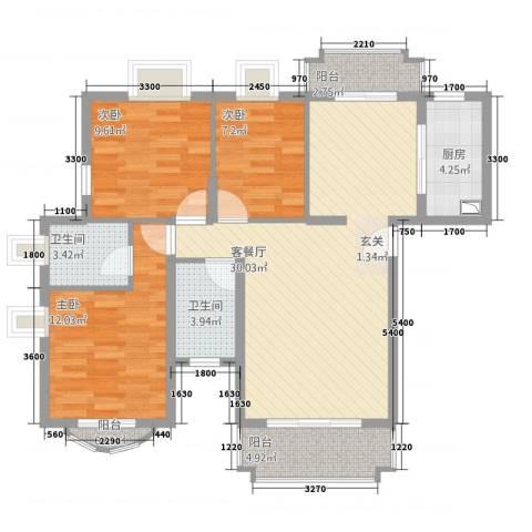 新君汇花地湾3室1厅2卫1厨88.00㎡户型图