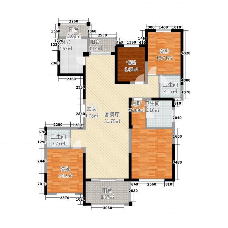 瀛海19城124184.20㎡D2户型4室2厅3卫1厨