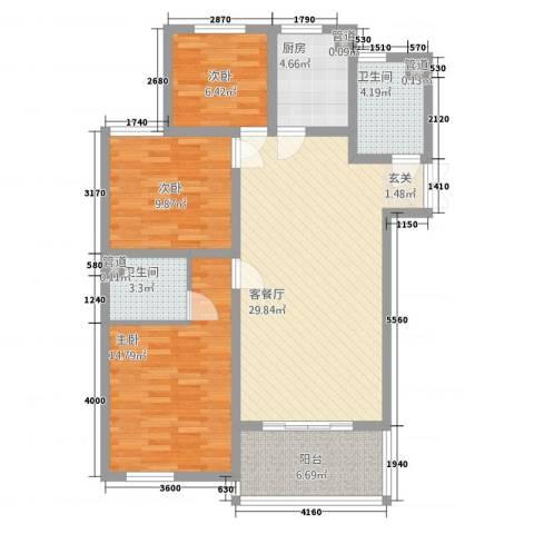 兆盛金色华庭3室1厅2卫1厨33212.00㎡户型图