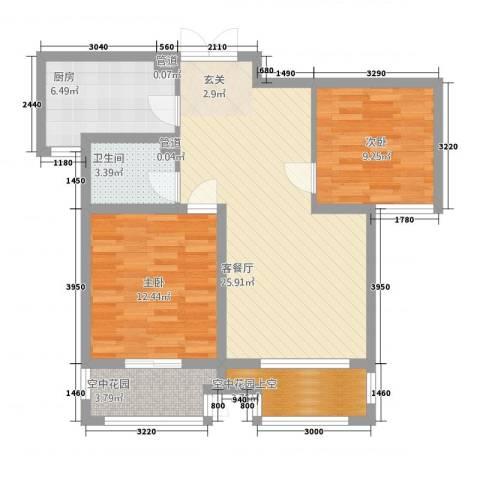 兆盛金色华庭2室1厅1卫1厨1228.00㎡户型图
