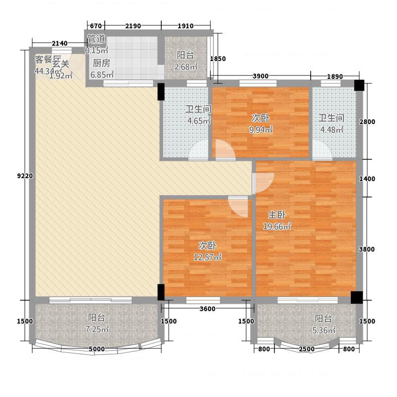 侨雅花苑4125138.25㎡4期1、2、5、6号楼标准层03户型3室2厅2卫1厨