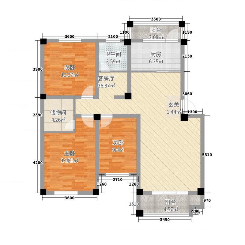 维多利亚花园115.20㎡西区B1水岸风情户型3室2厅1卫1厨