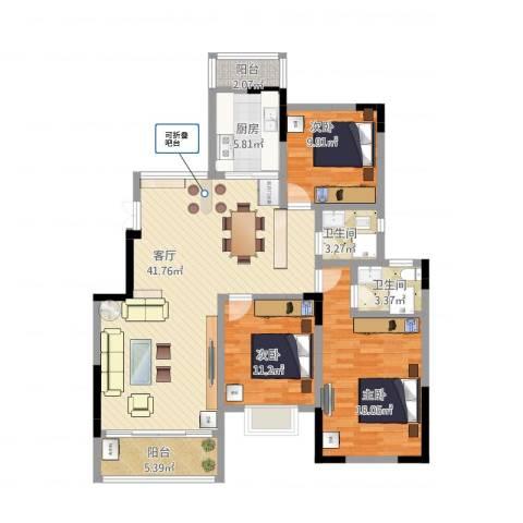 盛世家园3室1厅2卫1厨145.00㎡户型图