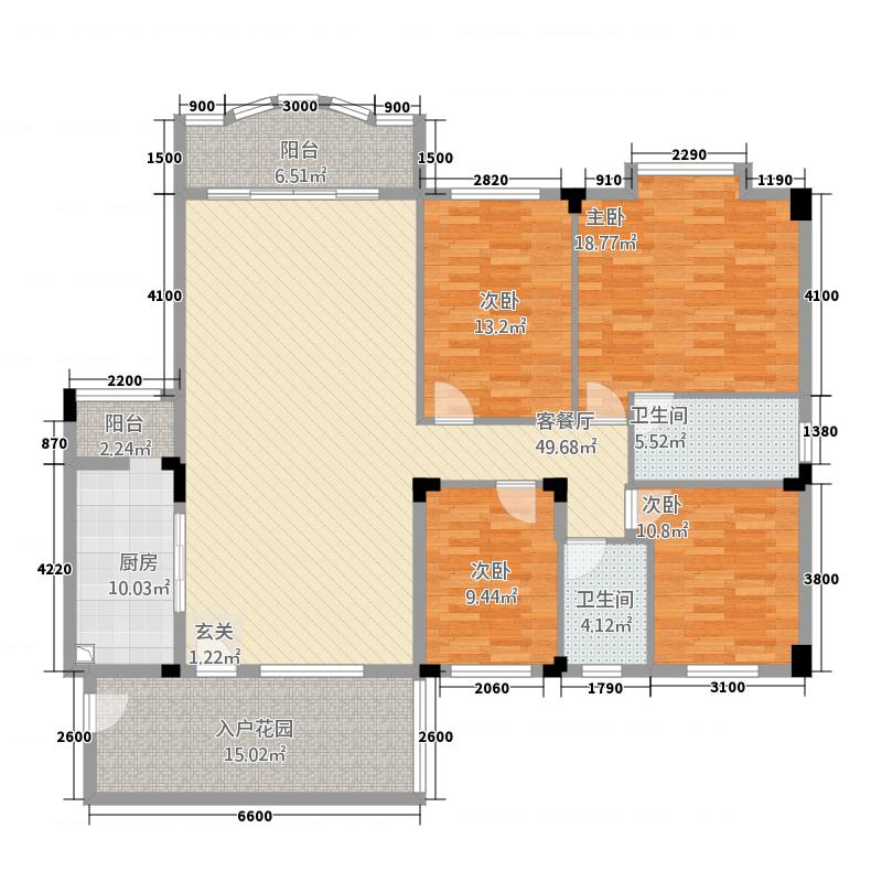 侨雅花苑412178.81㎡4期12号楼标准层04户型4室2厅2卫1厨