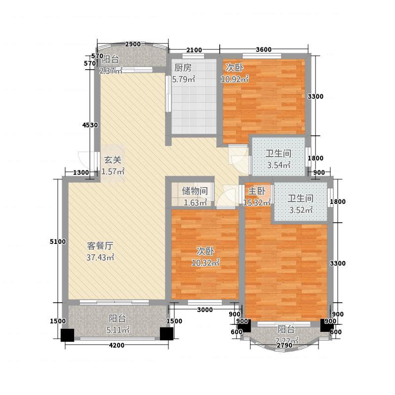 远洲玫瑰园7842117.00㎡R7M户型3室2厅2卫1厨