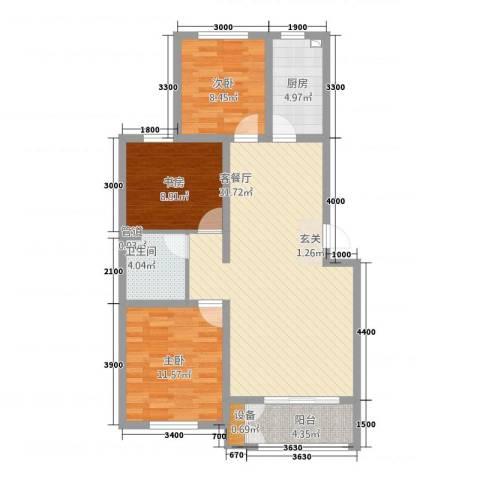 航顺悦澜山3室1厅1卫1厨74.71㎡户型图