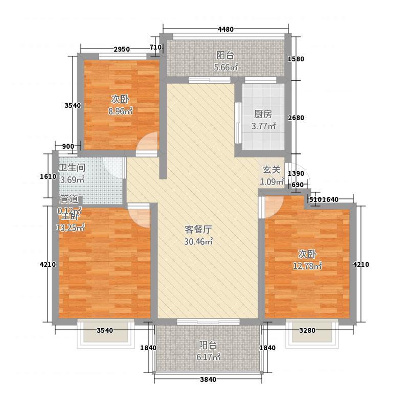 星湖湾32.20㎡C户型3室2厅1卫1厨