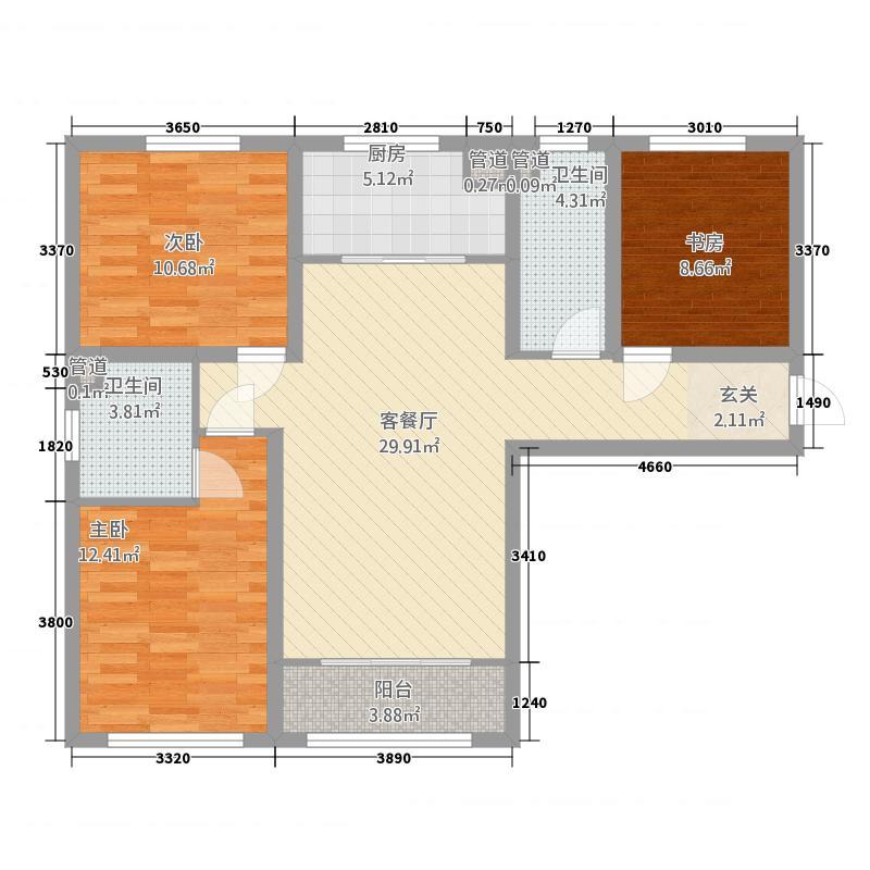 中集・青春里114.16㎡A户型3室2厅2卫1厨