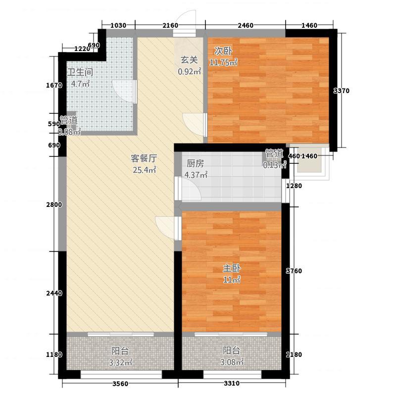 中集・青春里1.53㎡C户型2室2厅1卫1厨