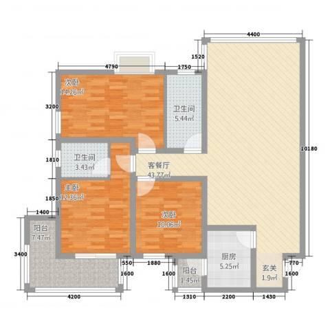 依山居3室1厅2卫1厨148.00㎡户型图