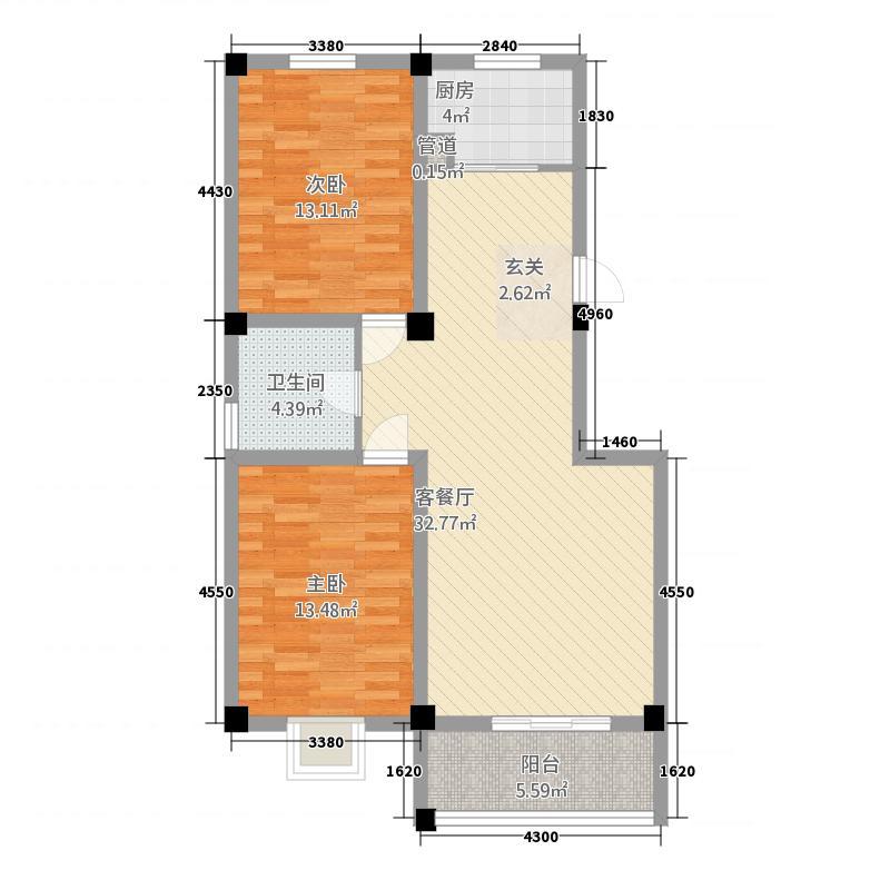 忠华・润泽苑15.87㎡忠华・润泽园2-2-1-户型2室2厅1卫1厨