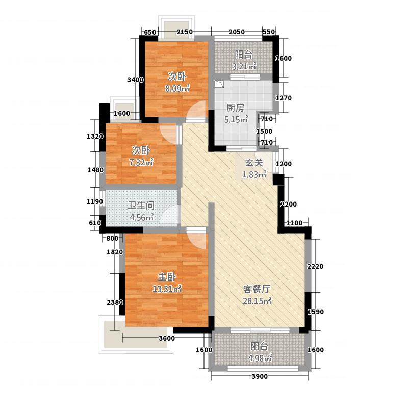 绿洲国际36.22㎡一期3号楼标准层B户型3室2厅1卫1厨