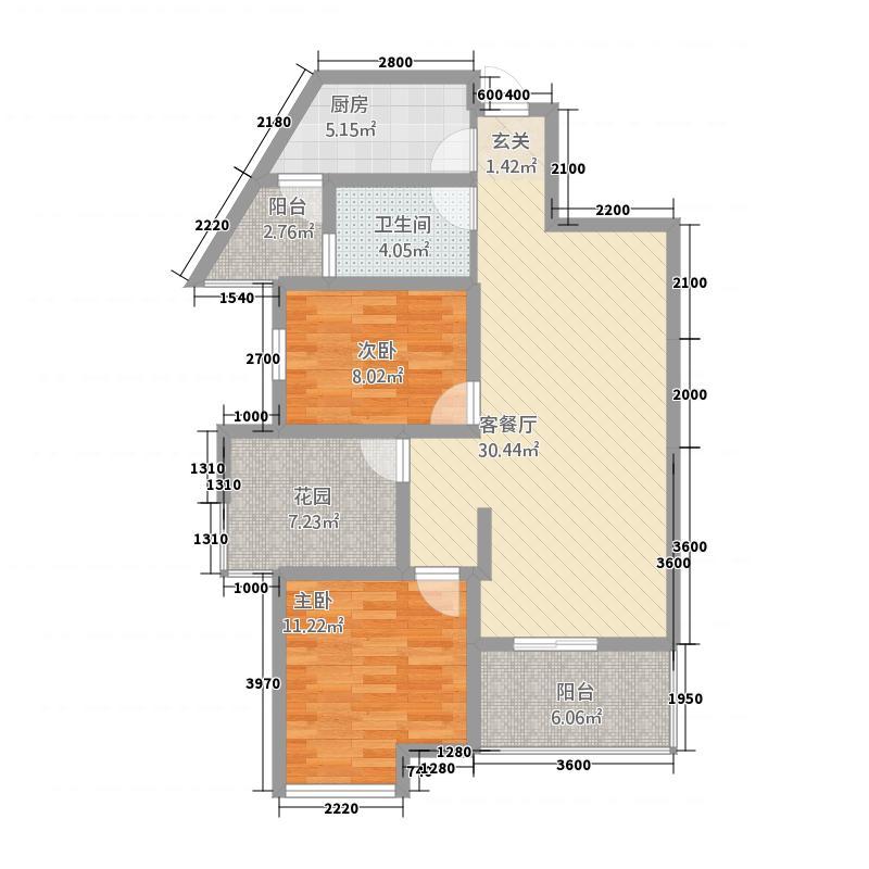 文一翰林水岸15.48㎡R1户型2室2厅1卫1厨