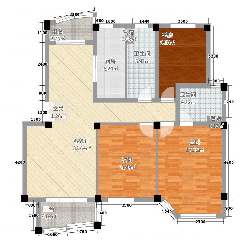 香格里拉花园1.20㎡户型3室2厅2卫1厨