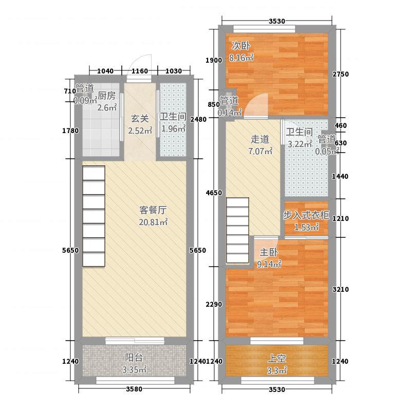 骏兆商业广场・景湾银座42.20㎡L户型3室2厅2卫1厨