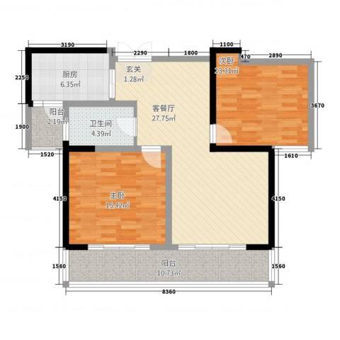 胜利华庭2室1厅1卫1厨115.00㎡户型图