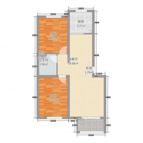 航顺悦澜山2室1厅1卫1厨65.86㎡户型图