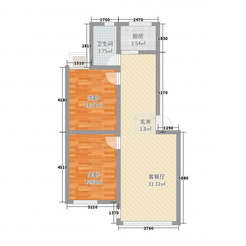 圣地亚哥128.84㎡圣地D户型2室2厅1卫1厨
