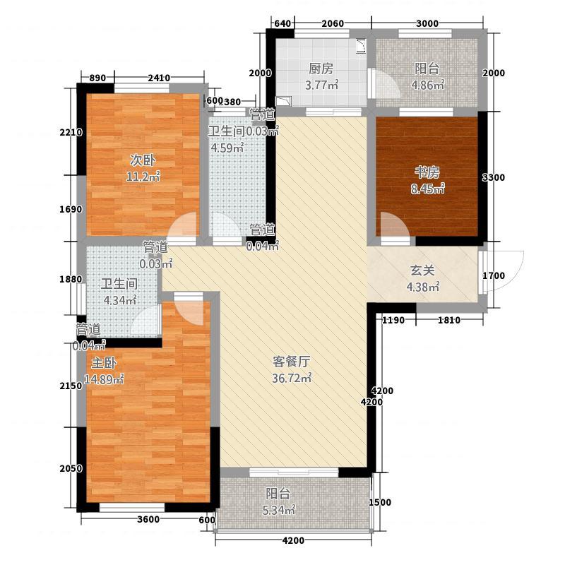 正大华庭户型3室2厅2卫1厨