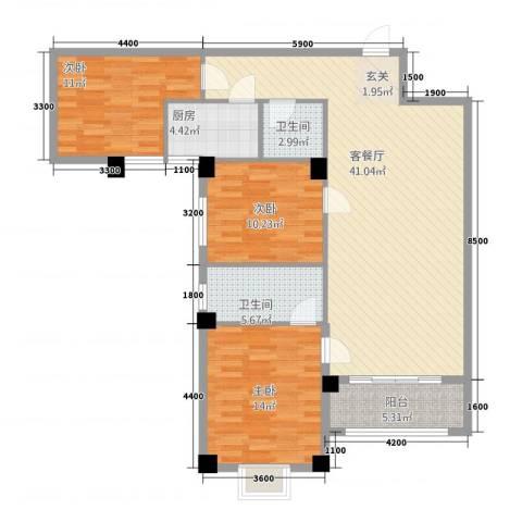 逢时商业大厦3室1厅2卫1厨125.00㎡户型图