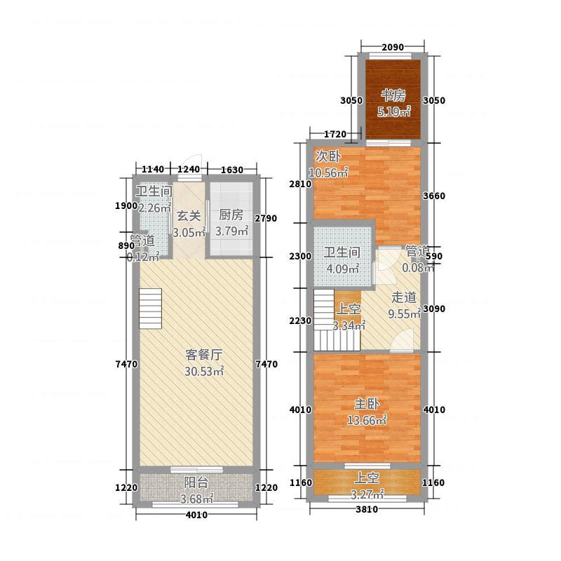 骏兆商业广场・景湾银座58.20㎡BF户型3室2厅2卫1厨