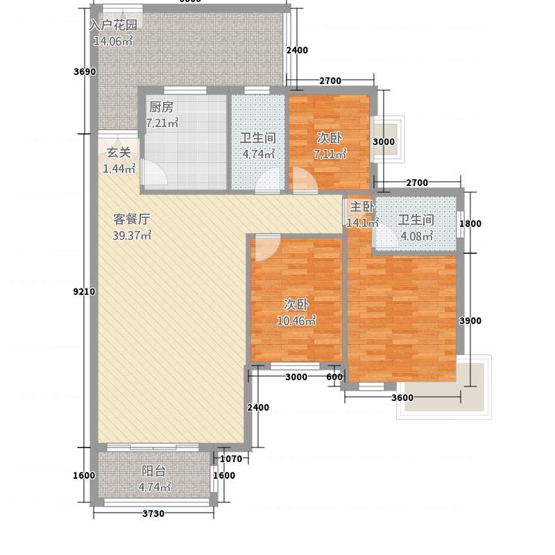 虹祥・锦江壹品126.61㎡户型3室2厅2卫1厨