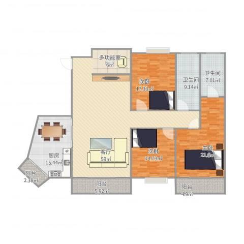 倚翠园3室1厅2卫1厨210.00㎡户型图