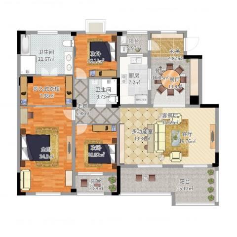 绿城玉兰公馆3室2厅2卫1厨212.00㎡户型图