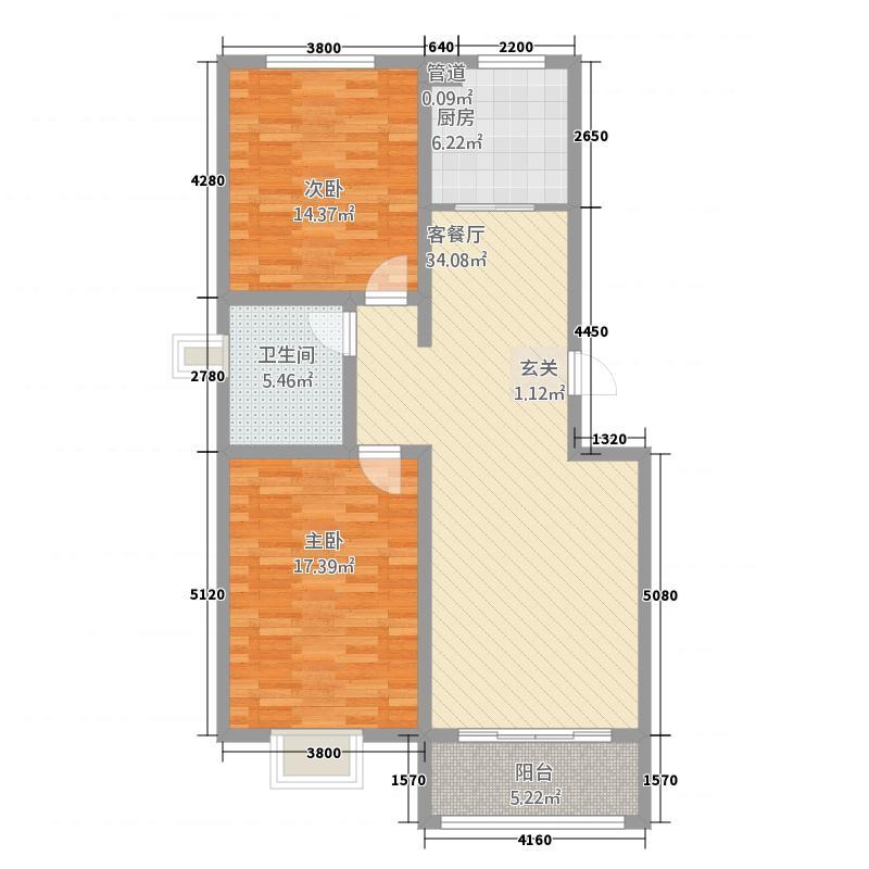 巨能公寓2215.87㎡B户型2室2厅1卫1厨