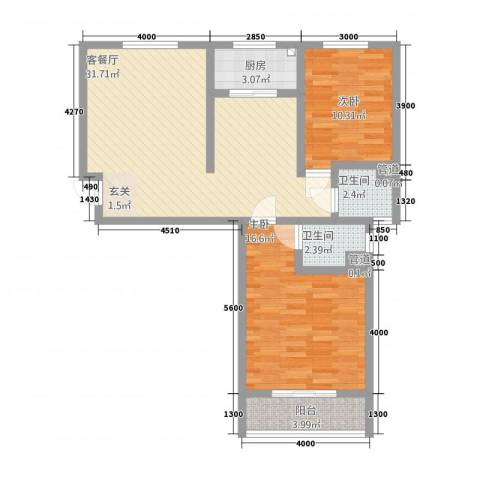 翠堤春晓2室1厅2卫1厨612.00㎡户型图