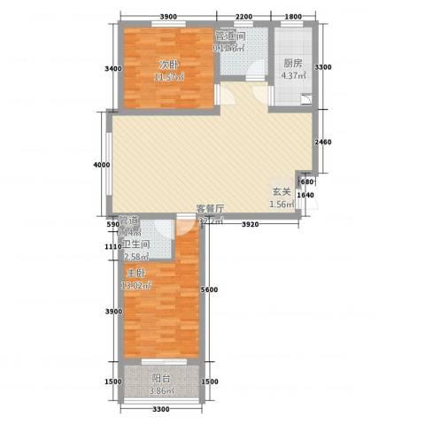 翠堤春晓2室1厅2卫1厨114.00㎡户型图