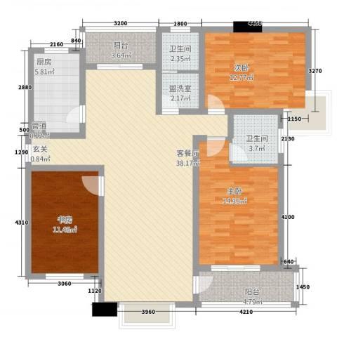 新世纪绿树湾3室2厅2卫1厨99.33㎡户型图