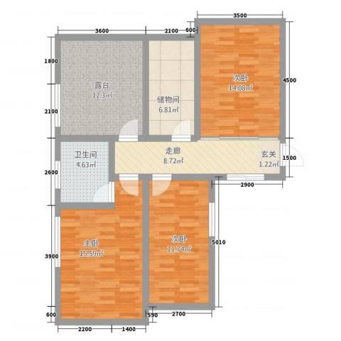 丰林花园3室0厅1卫0厨73.86㎡户型图