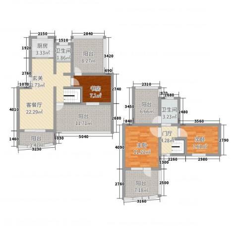永成时代广场3室1厅2卫1厨146.00㎡户型图