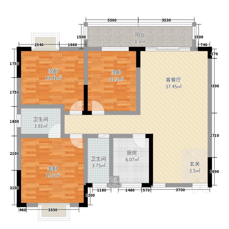 山水华府二期127.20㎡户型3室2厅2卫1厨