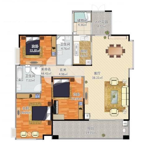 景源公园一号3室1厅2卫1厨175.00㎡户型图