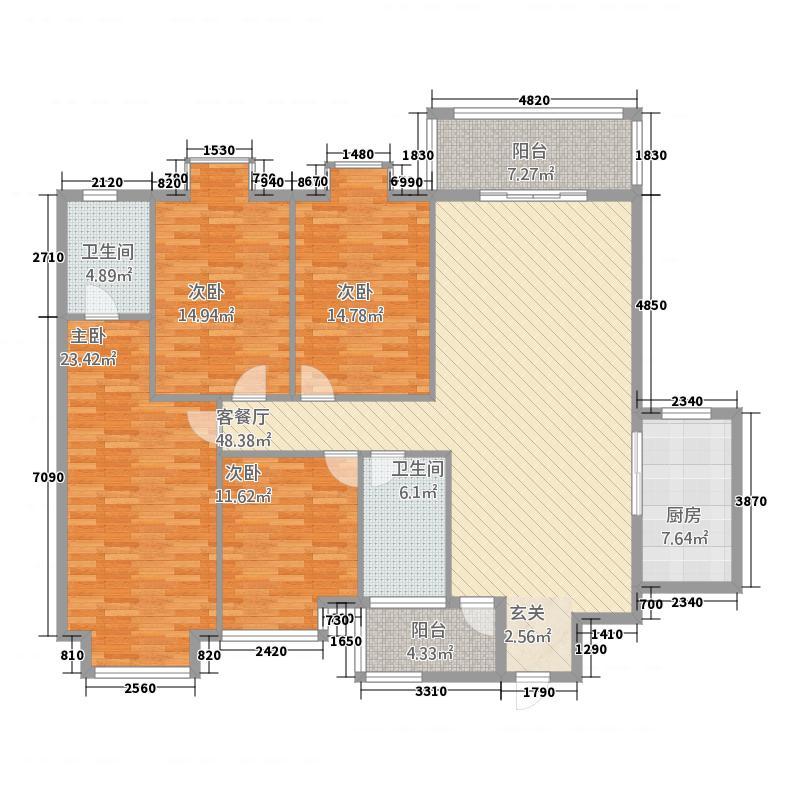 公务员小区1185.85㎡户型4室2厅2卫1厨