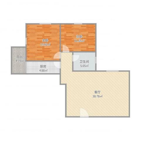 惠景城2室1厅1卫1厨106.00㎡户型图
