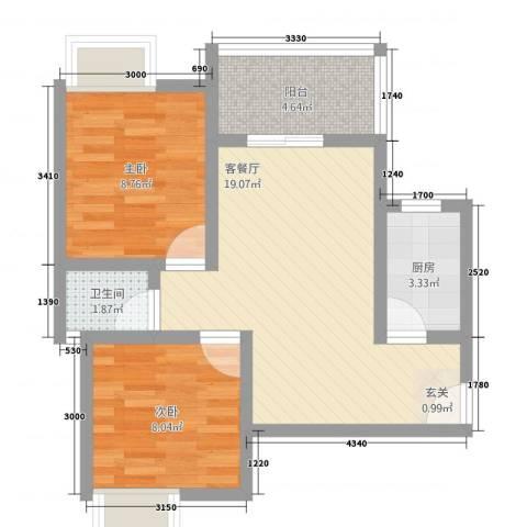 逸清远景2室1厅1卫1厨45.71㎡户型图
