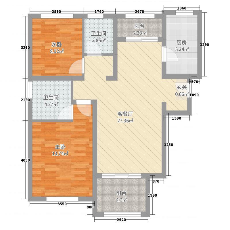 明珠花苑22.52㎡D户型2室2厅2卫