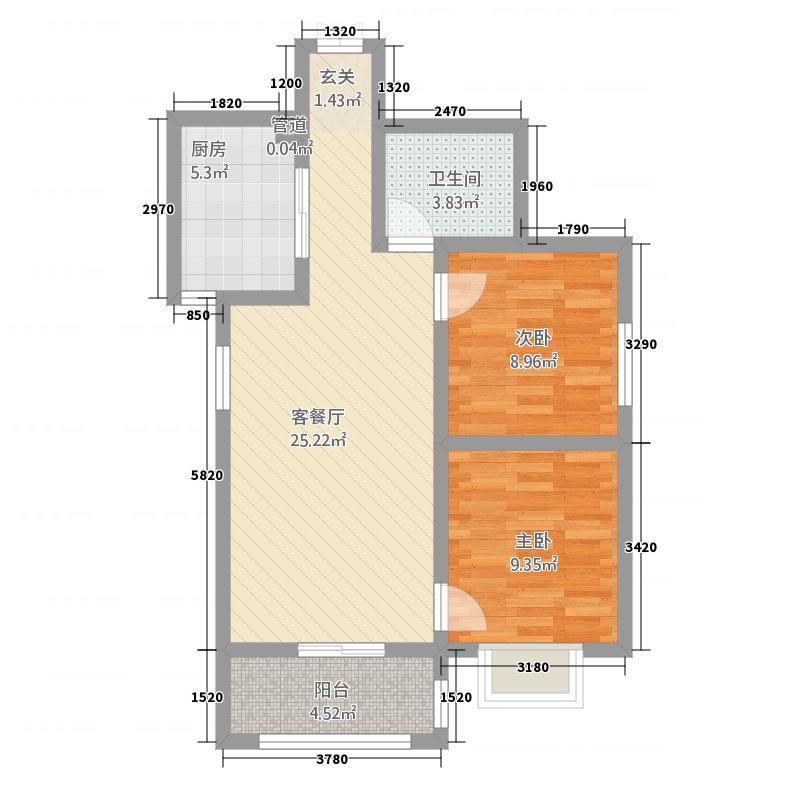 白桦-公园壹号84.25㎡户型2室2厅1卫1厨
