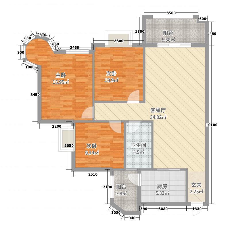 金地明珠3118.45㎡户型3室2厅1卫1厨