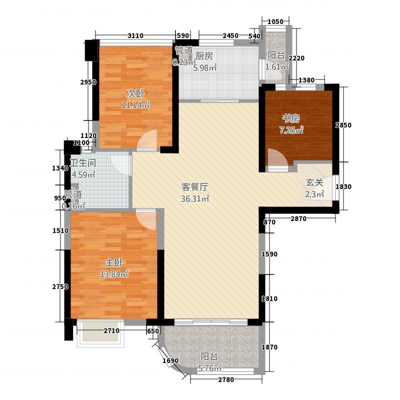 碧桂园32122.20㎡A型户户型3室2厅1卫1厨