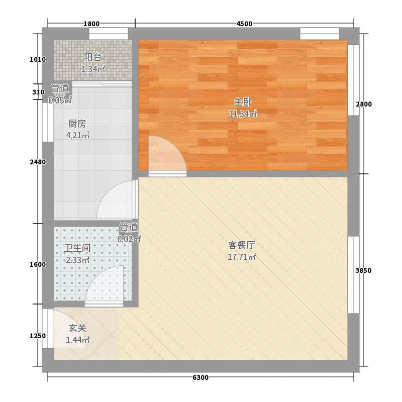 凌云花苑47.00㎡1-1户型1室
