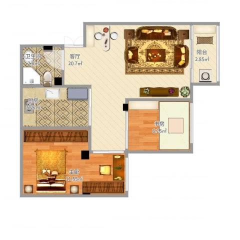 紫荆苑2室1厅1卫1厨68.00㎡户型图