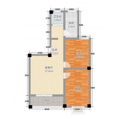 公交集资房2室1厅1卫1厨96.00㎡户型图
